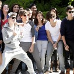 One Direction pose for pictures with fans outside their Los Angeles hotel. Niall, Liam Zayn, Harry and Louis made their fans' day by walking out of their hotel and posing for pictures. Many of the fans had camped out for 14-hours each day for a week in a hope of catching a glimpse of their idols.  Pictured: Liam Payne, Niall Horan, Louis Tomlinson, Harry Styles, and Zayn Malik Ref: SPL377342  040412   Picture by: Splash News  Splash News and Pictures Los Angeles:310-821-2666 New York:212-619-2666 London:870-934-2666 photodesk@splashnews.com